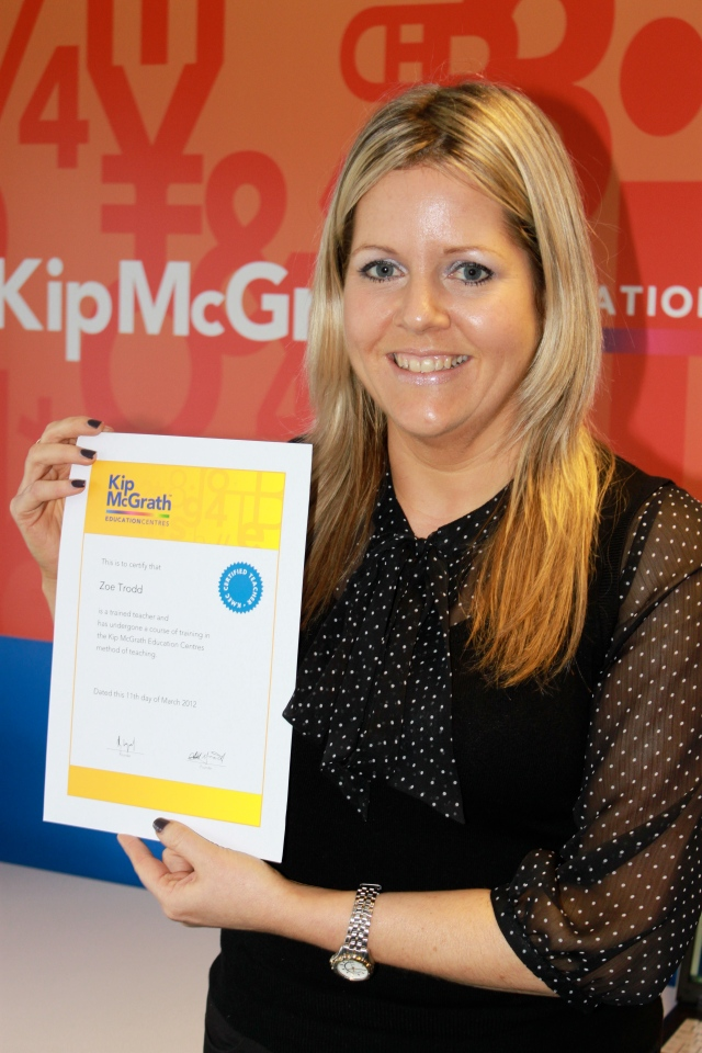 Zoe Trodd completing her training to open Kip McGrath Sevenoaks.
